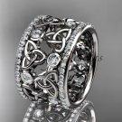 Platinum diamond celtic trinity knot wedding band, bridal ring CT7232B