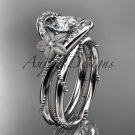 """14kt white gold diamond unique engagement set with a """"Forever One"""" Moissanite center stone ADLR166S"""