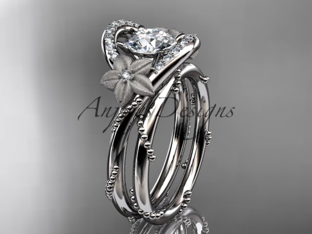 """Platinum  diamond unique engagement set with a """"Forever One"""" Moissanite center stone ADLR166S"""