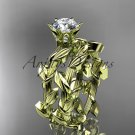 14kt yellow gold diamond floral engagement set with a Moissanite center stone ADLR248S