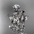 Platinum  diamond floral engagement set with a Moissanite center stone ADLR248S