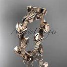 Unique 14kt rose gold leaf and vine wedding ring ADLR248G