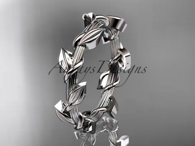 Unique platinum  leaf and vine wedding ring ADLR248G