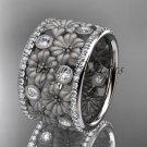 14k white gold diamond flower wedding ring, engagement ring ADLR232