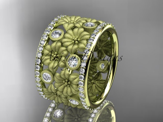 14k yellow gold diamond flower wedding ring, engagement ring ADLR232
