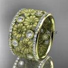 14k yellow gold diamond flower wedding ring, engagement ring ADLR232