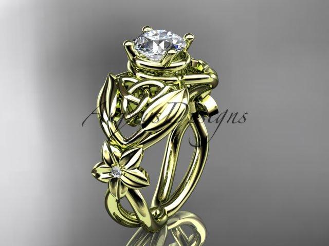 14kt yellow gold diamond celtic trinity knot wedding ring, engagement ring CT7501