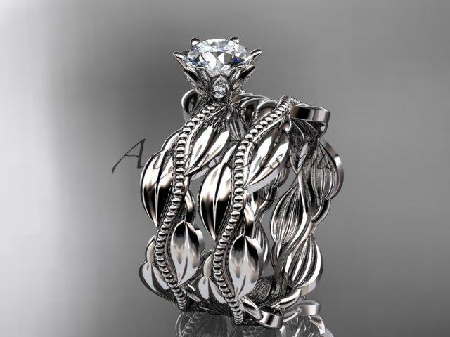 14k white gold leaf and vine engagement ring, wedding set ADLR258S