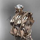 14k rose gold leaf and vine engagement ring, wedding set ADLR258S