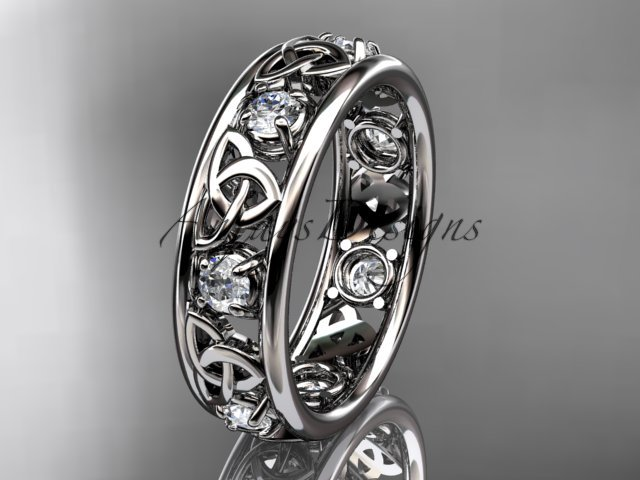 14kt white gold celtic trinity knot wedding band, engagement ring CT7160B