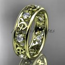 14kt yellow gold celtic trinity knot wedding band, engagement ring CT7160B