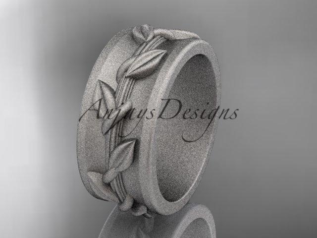 14kt white gold engagement ring, matte finish wedding band ADLR417G