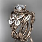 14kt rose gold diamond celtic trinity knot engagement set with a Moissanite center stone CT7136S