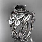 Platinum  diamond celtic trinity knot engagement set with a Black Diamond center stone CT7136S