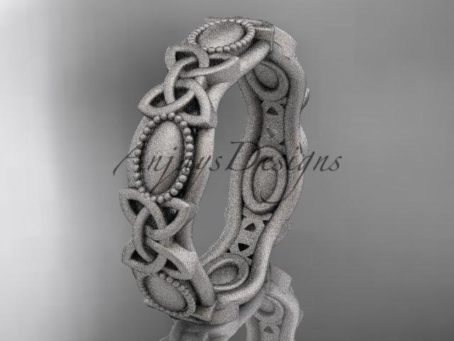 14kt white gold celtic trinity knot wedding band, matte finish wedding band, engagement ring CT7152G