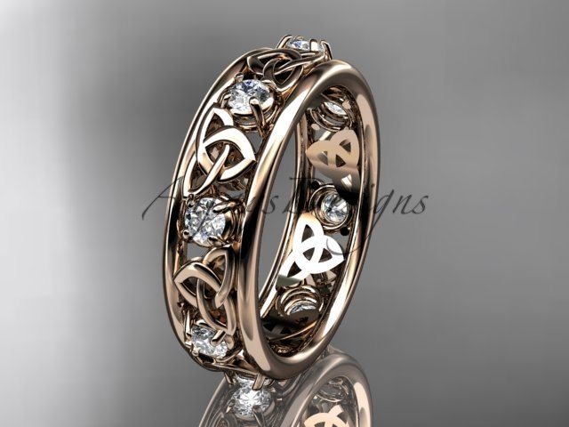 14kt rose gold celtic trinity knot wedding band, engagement ring CT7503B