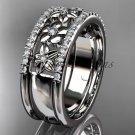 14kt white gold engagement ring, flower wedding band ADLR406B