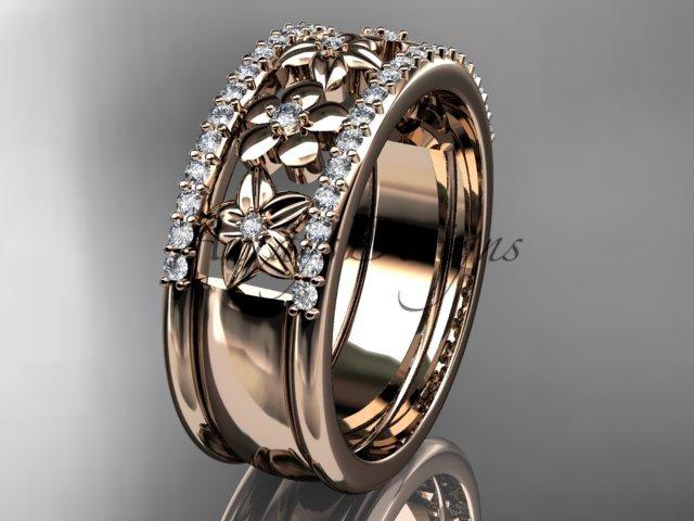 14kt rose gold engagement ring, flower wedding band ADLR406B