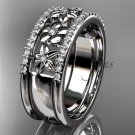 platinum  engagement ring, flower wedding band ADLR406B