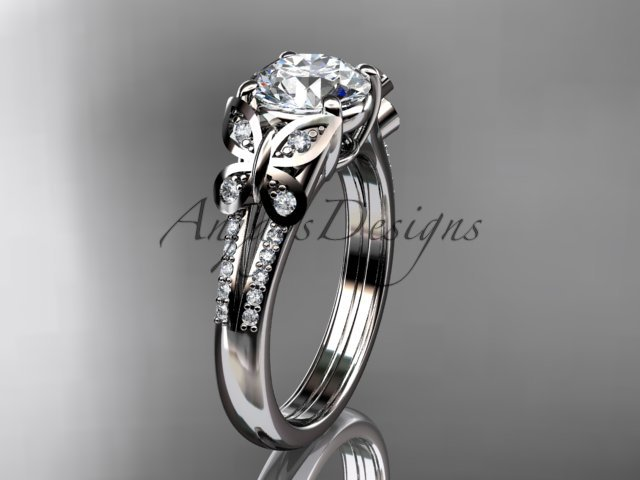 14kt white gold diamond engagement ring, butterfly ring, with a Moissanite center stone ADLR514
