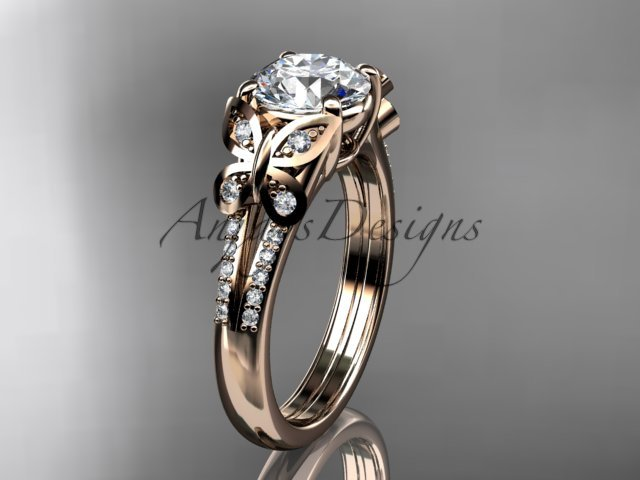 14kt rose gold diamond engagement ring, butterfly ring, with a Moissanite center stone ADLR514