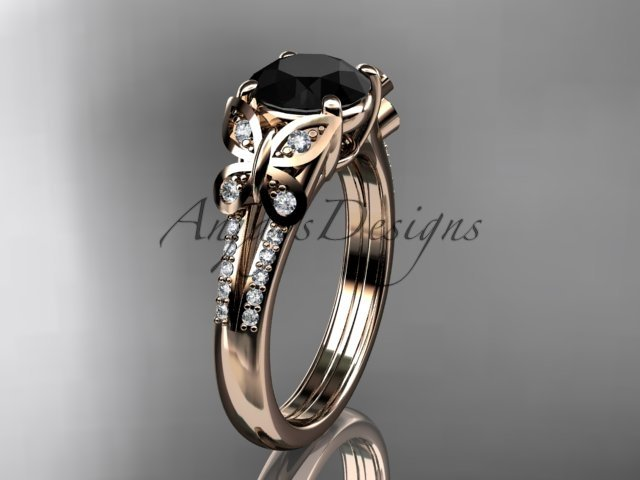 14kt rose gold diamond engagement ring, wedding ring with a Black Diamond center stone ADLR514