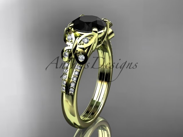 14kt yellow gold diamond engagement ring, wedding ring with a Black Diamond center stone ADLR514