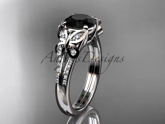platinum  diamond engagement ring, wedding ring with a Black Diamond center stone ADLR514