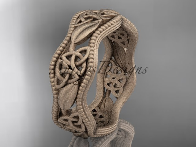 14kt rose gold celtic trinity knot wedding band, matte finish wedding band, engagement ring CT7190G