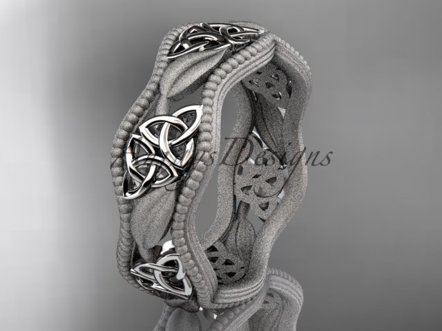 14kt white gold celtic trinity knot wedding band, engagement ring CT7190GM