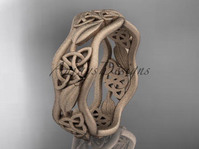 14kt rose gold celtic trinity knot wedding band, matte finish wedding band, engagement ring CT7506G