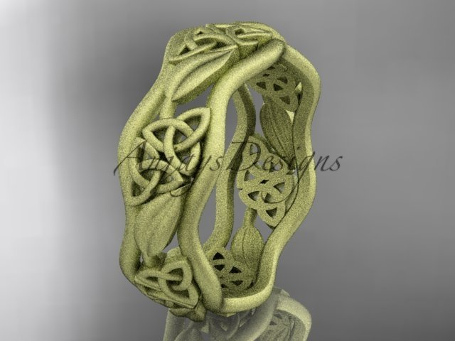 14kt yellow gold celtic trinity knot wedding band, matte finish wedding band, engagement ring CT7506
