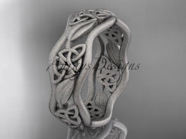platinum  celtic trinity knot wedding band, matte finish wedding band, engagement ring CT7506