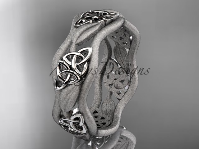 14kt white gold celtic trinity knot wedding band, engagement ring CT7506GM