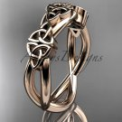 14kt rose gold celtic trinity knot wedding band, engagement ring CT7505G
