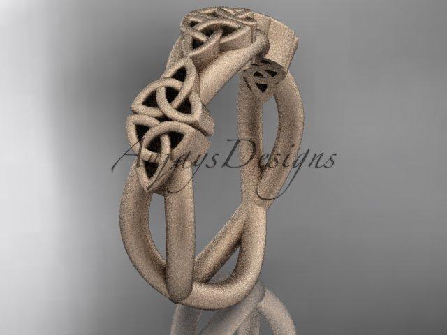 14kt rose gold celtic trinity knot wedding band, matte finish wedding band, engagement ring CT7505G