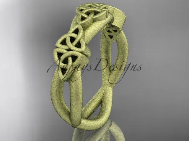 14k yellow gold celtic trinity knot wedding band, matte finish wedding band, engagement ring CT7505G