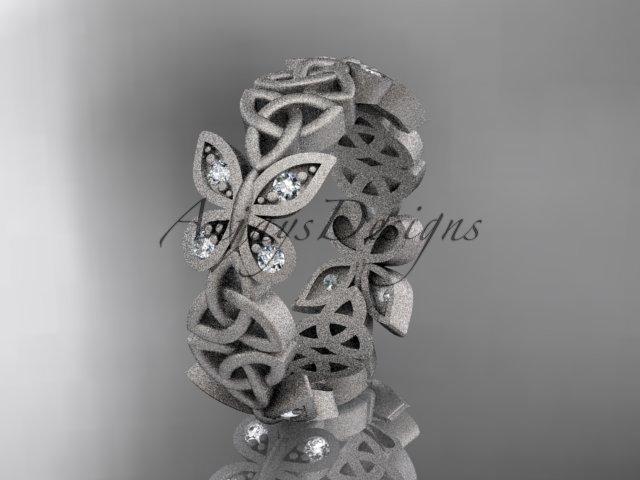 14kt white gold diamond celtic trinity knot matte finish wedding band, engagement ring CT7418B