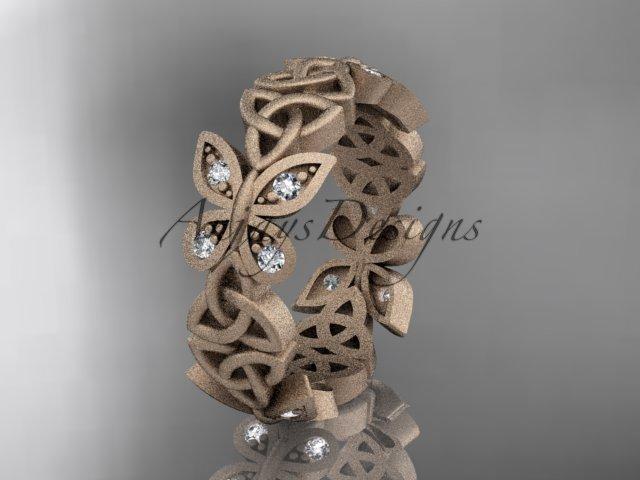 14kt rose gold diamond celtic trinity knot matte finish wedding band, engagement ring CT7418B