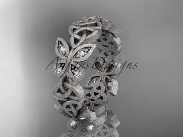 platinum  diamond celtic trinity knot matte finish wedding band, engagement ring CT7418B