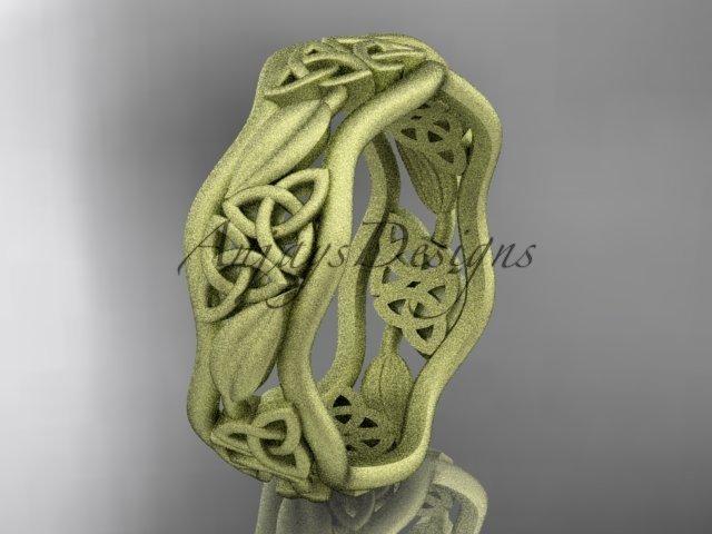 14k yellow gold celtic trinity knot wedding band, matte finish wedding band, engagement ring CT7512G