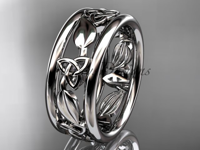 14kt white gold celtic trinity knot wedding band, engagement ring CT7233G