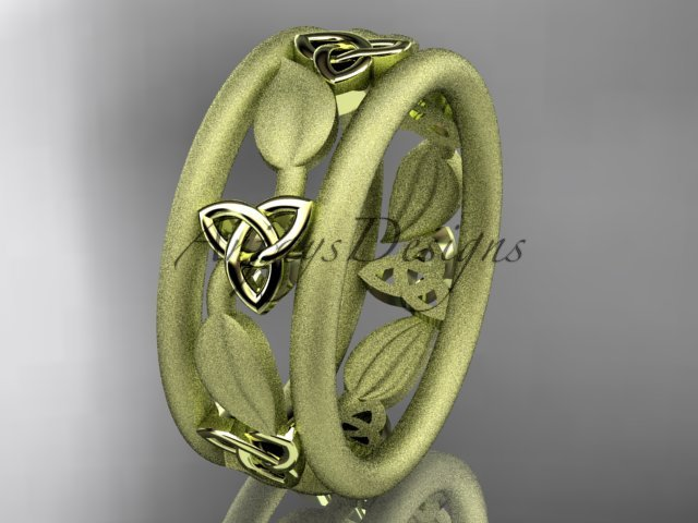 14kt yellow gold celtic trinity knot wedding band, engagement ring CT7233GM