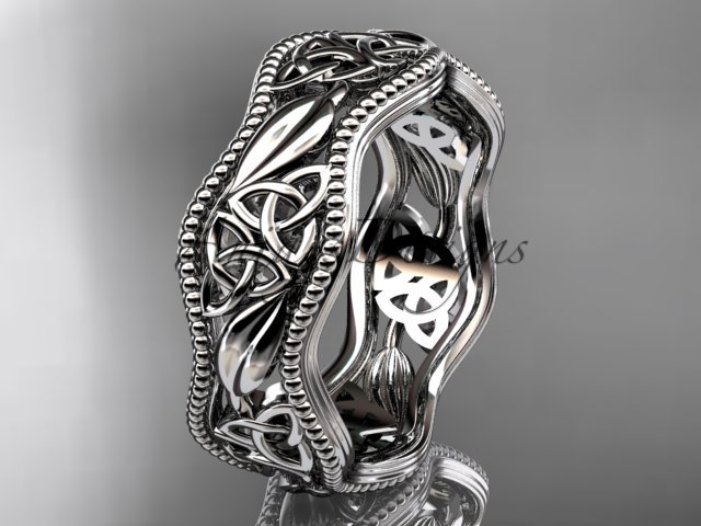 14kt white gold celtic trinity knot wedding band, engagement ring CT7508G