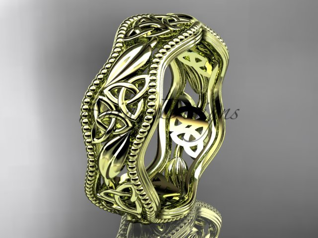 14kt yellow gold celtic trinity knot wedding band, engagement ring CT7508G