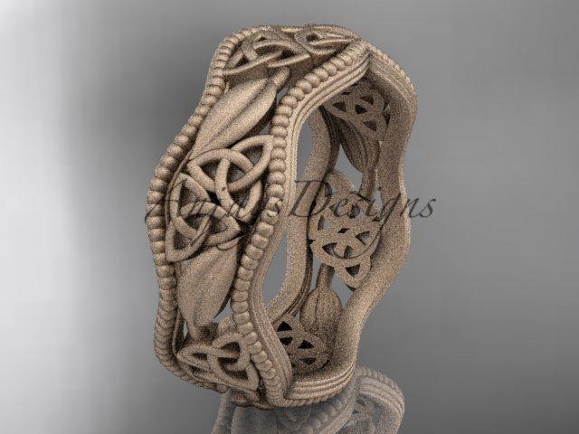 14kt rose gold celtic trinity knot wedding band, matte finish wedding band, engagement ring CT7508G