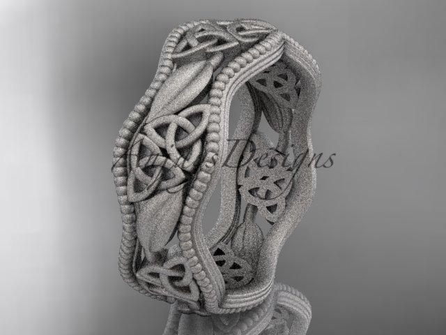 platinum  celtic trinity knot wedding band, matte finish wedding band, engagement ring CT7508G