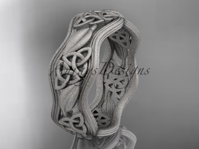 14kt white gold celtic trinity knot wedding band, matte finish wedding band, engagement ring CT7510G