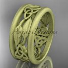 14k yellow gold celtic trinity knot wedding band, matte finish wedding band, engagement ring CT7511G