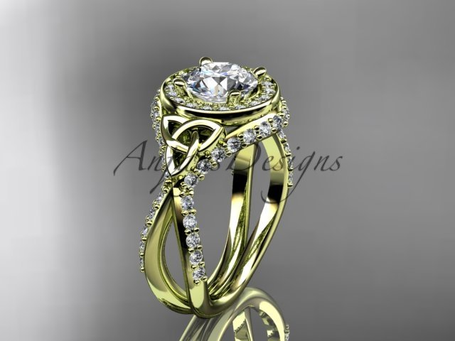 14kt yellow gold diamond celtic trinity knot, engagement ring with a Moissanite center stone CT7416